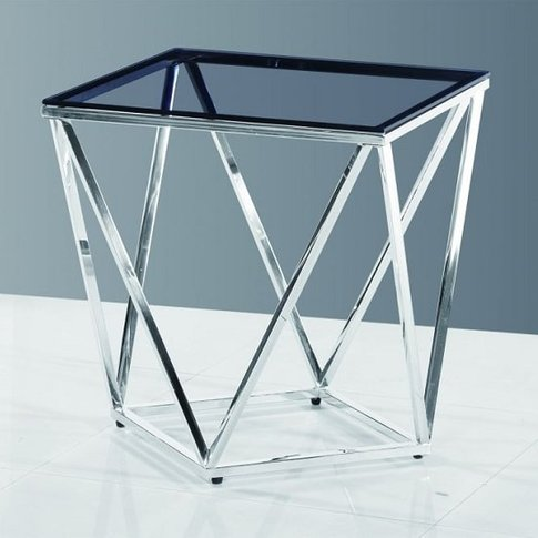 Carsen Glass Side Table In Smoke With Polished Steel...