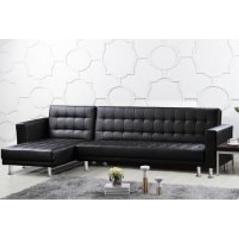 Carter Multifunctional Sofa Bed In Black Faux Leathe...