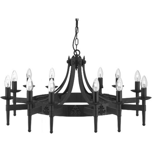 Cartwheel 12 Light Ceiling Light In Black Wrought Iron