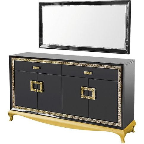 Carugo Sideboard With Mirror In Black Gloss And Diam...