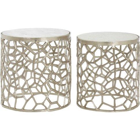 Casa Marble Top Set Of 2 Side Tables In Nickel