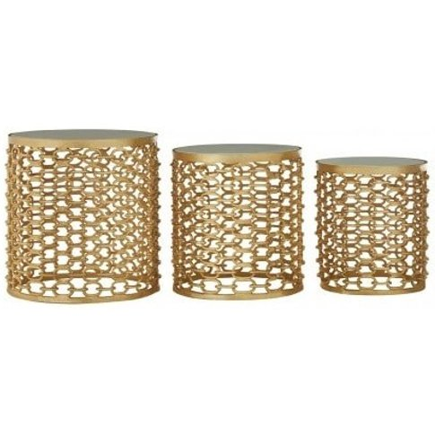 Casa Marble Top Set Of 3 Side Tables In Gold Finish