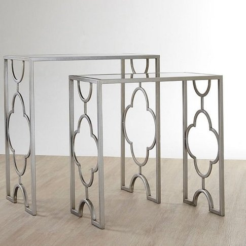 Cascade Set Of 2 Side Tables In Mirrored Glass And S...