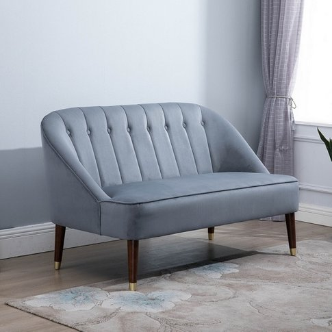 Cassia Fabric 2 Seater Sofa In Grey With Wooden Legs