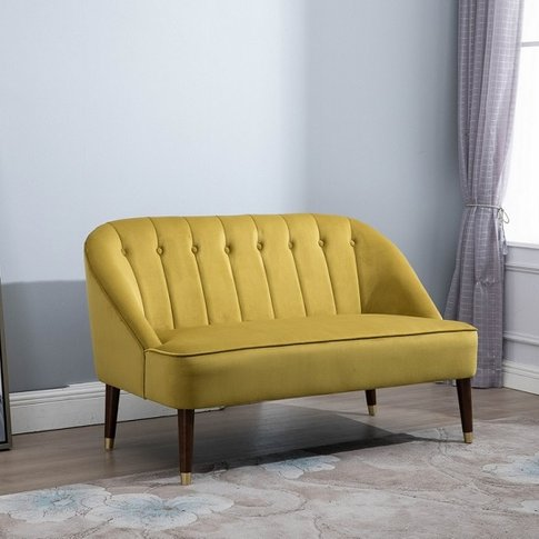 Cassia Fabric 2 Seater Sofa In Mustard With Wooden Legs