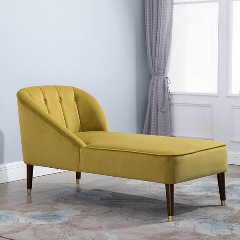 Cassia Fabric Chaise Longue In Mustard With Wooden Legs