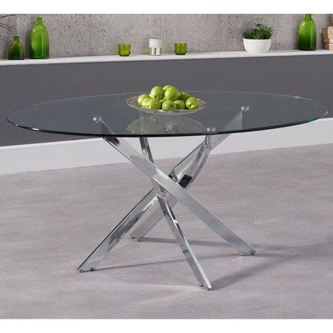 Castula Oval Glass Dining Table With Chrome Legs