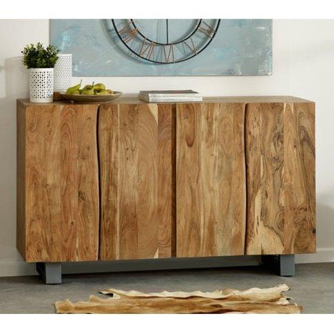 Catila Live Edge Wooden Sideboard In Oak With 4 Doors