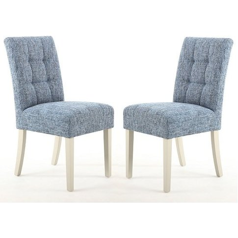 Catria Dining Chair In Oxford Blue With Cream Legs I...