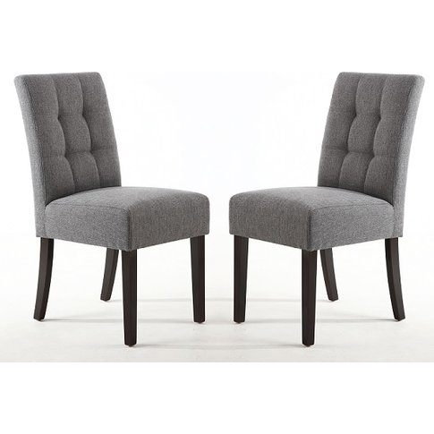 Catria Dining Chair In Steel Grey With Brown Legs In...