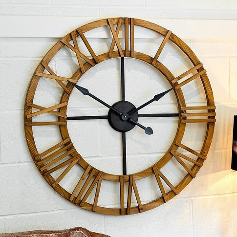 Cayman Wooden Clock With Roman Numerals