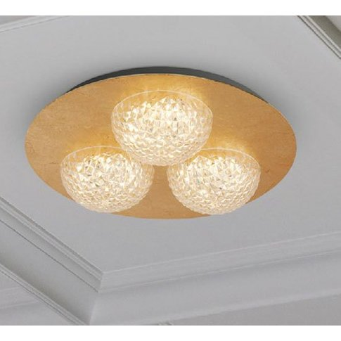 Celestia 3 Led Ceiling Light In Gold Leaf With Clear...