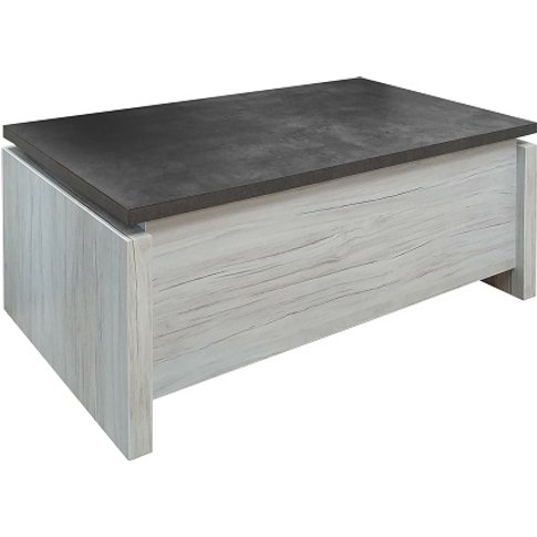 Celestine Wooden Coffee Table In Oak With Dark Concr...