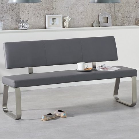 Celina Large Dining Bench In Grey Faux Leather