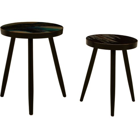 Baekdu Set Of 2 Turquoise Side Tables With Green Sha...