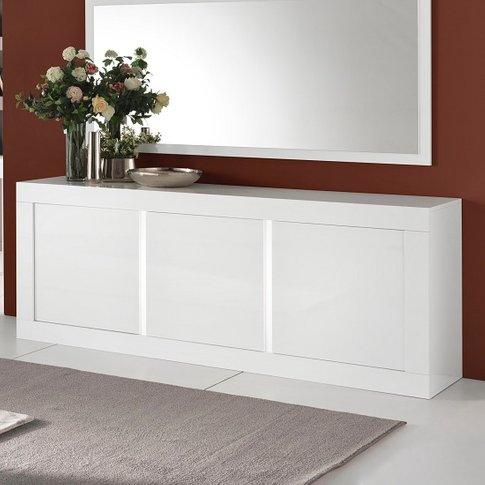 Celtic Modern Sideboard In White High Gloss With Lig...