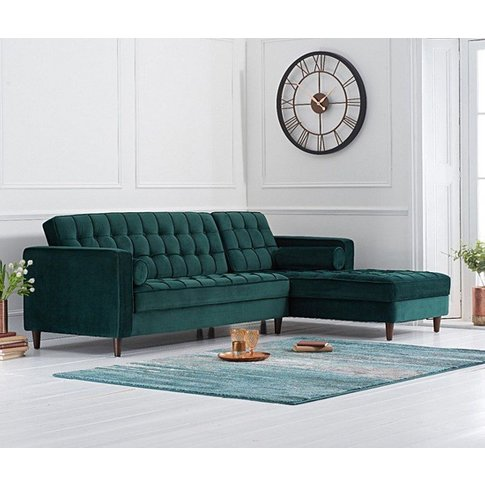 Centaurus Right Handed Velvet Sofa Bed In Green