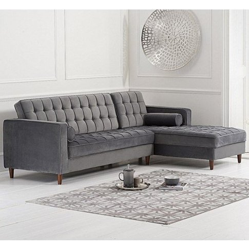 Centaurus Velvet Right Facing Chaise Sofa Bed In Grey