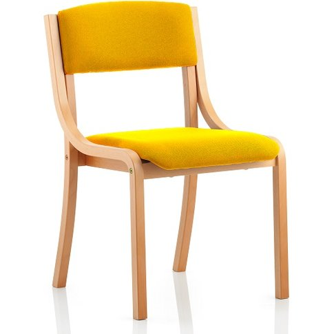 Charles Office Chair In Yellow And Wooden Frame