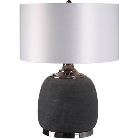 Charna Table Lamp With Charcoal Black Ceramic Base