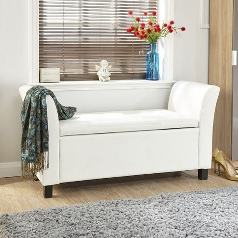Charter Ottoman Seat In White Faux Leather With Wood...