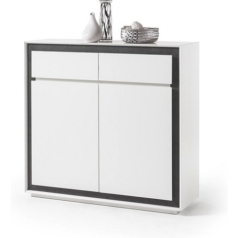 Chelsea Chest Of Drawers In White With Concrete Inserts