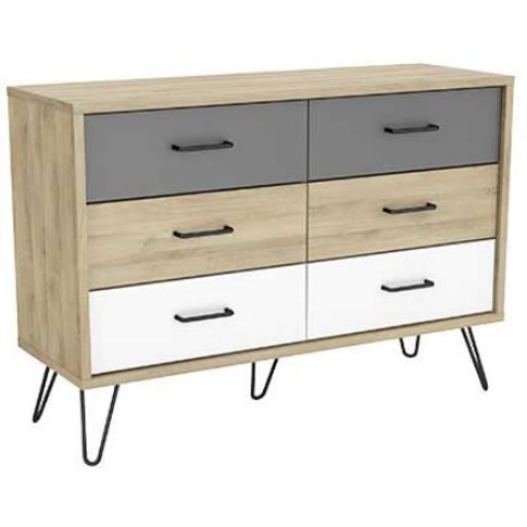 Chervil Chest Of Drawers Wide In Kronberg Oak And Pe...