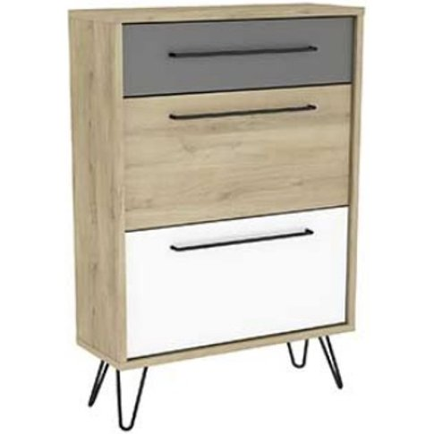 Chervil Shoe Storage Cabinet In Kronberg Oak And Pea...