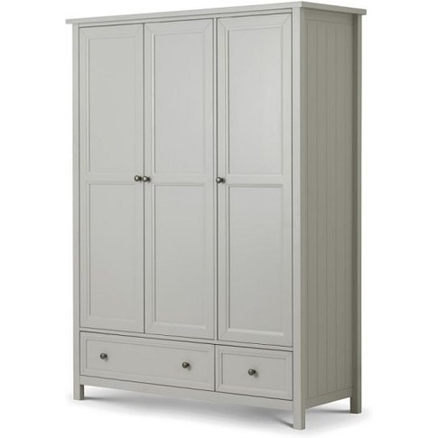 Cheshire Wardrobe Wide In Dove Grey Lacquer With 3 D...