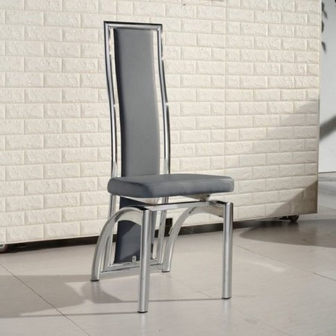 Chicago Dining Chair In Grey Faux Leather With Chrom...