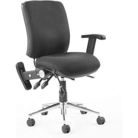 Chiro Fabric Medium Back Office Chair In Black With ...