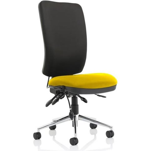 Chiro High Black Back Office Chair In Senna Yellow N...