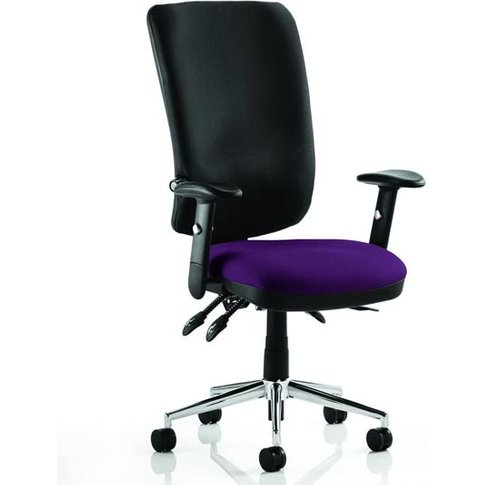 Chiro High Black Back Office Chair In Tansy Purple With Arms