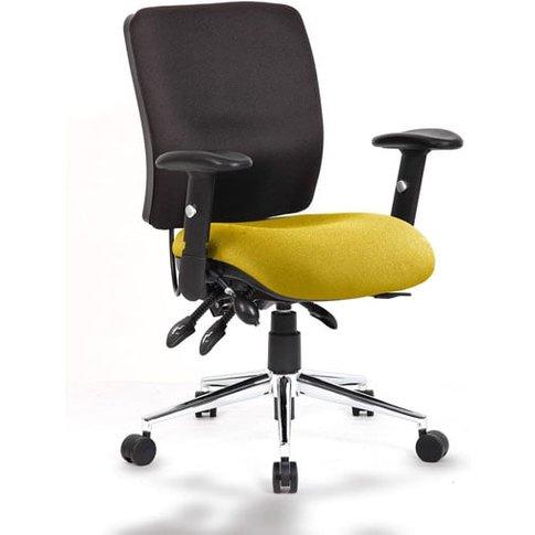 Chiro Medium Back Office Chair With Senna Yellow Seat