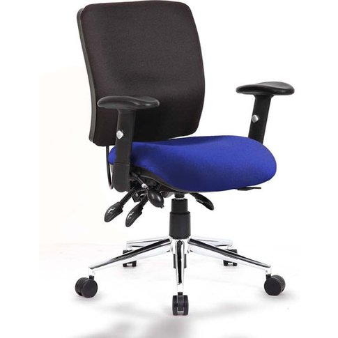 Chiro Medium Back Office Chair With Stevia Blue Seat