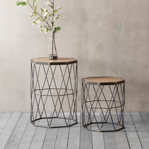 Ciara Set Of 2 Side Tables In Wooden Top With Metal ...