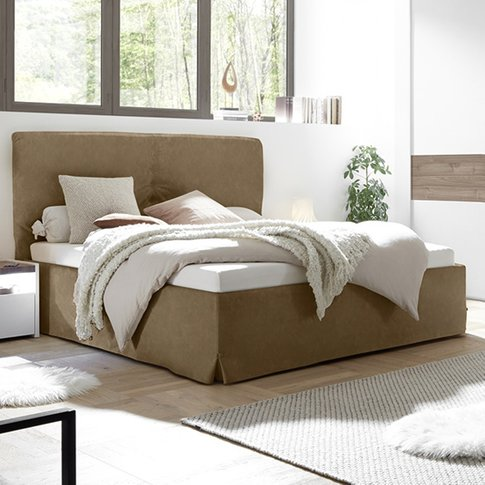 Civics Faux Leather King Size Bed In Tobacco Effect