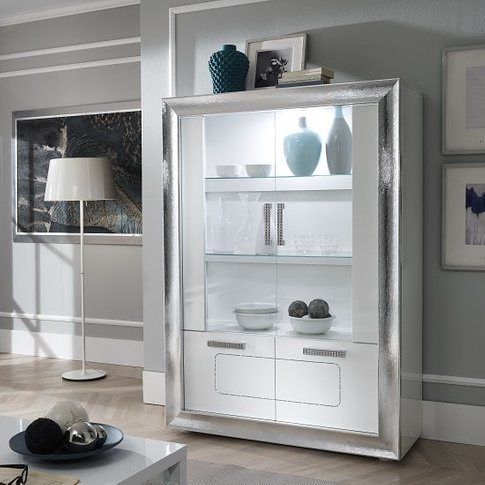 Claire Display Cabinet In White High Gloss And Steel...