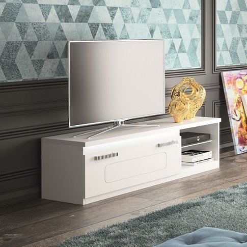Claire TV Stand In White High Gloss And Steel Effect...