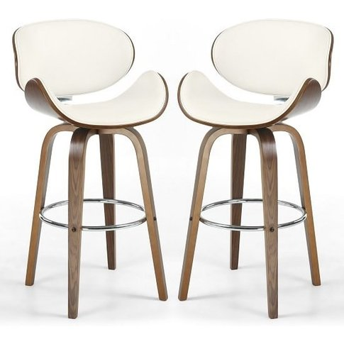 Clapton Bar Stools In Cream Pu And Walnut In A Pair