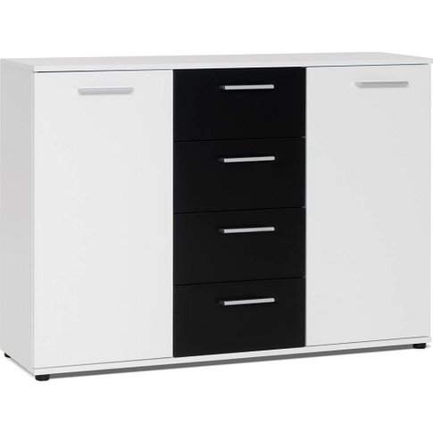 Clarion Wooden Sideboard In White And Black With 2 D...