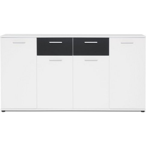 Clarion Wooden Sideboard In White And Black With 4 D...