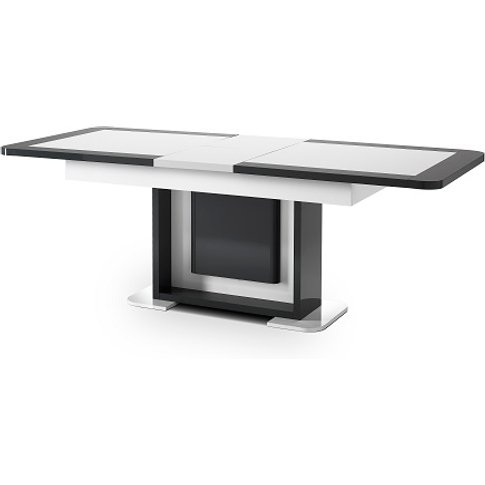 Clarus Extendable Dining Table In White And Grey Glo...