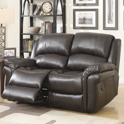 Claton Recliner 2 Seater Sofa In Brown Faux Leather