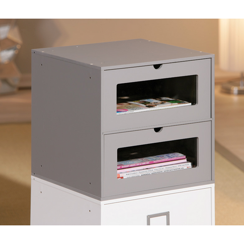 Maxim Shelving Unit In Grey Two Drawes For Home And ...