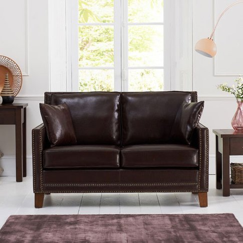 Cobalt 2 Seater Sofa In Brown Leather With Dark Ash ...