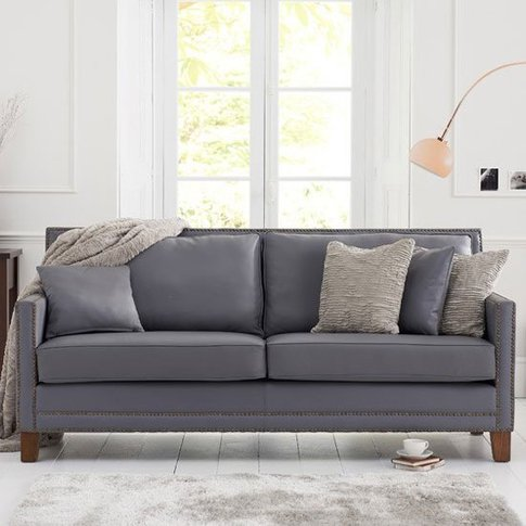 Cobalt 3 Seater Sofa In Grey Leather With Dark Ash Legs