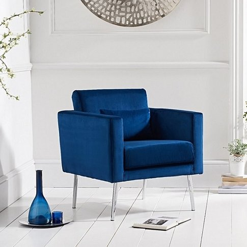 Colony Modern Accent Chair In Blue Velvet With Chrom...