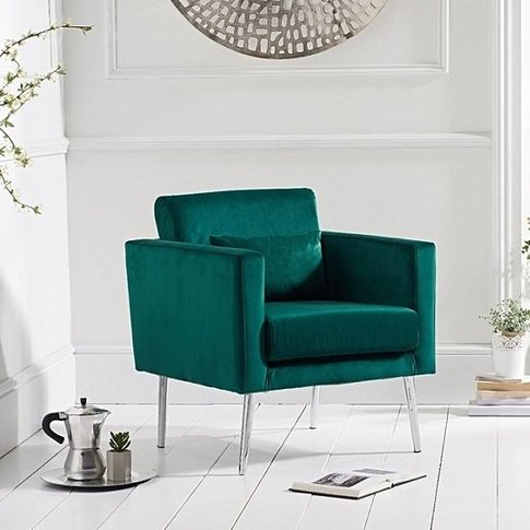 Colony Modern Accent Chair In Green Velvet With Chro...