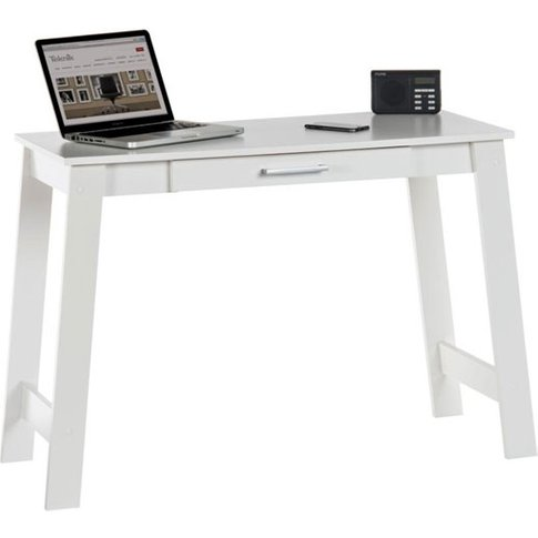 Colorado Laptop Desk In Soft White With 1 Drawer